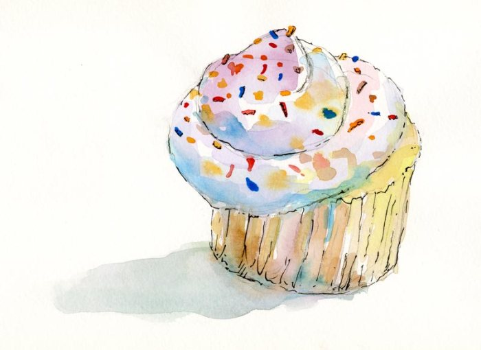 Cupcake - watercolor and ink - by artist rebecca stahr