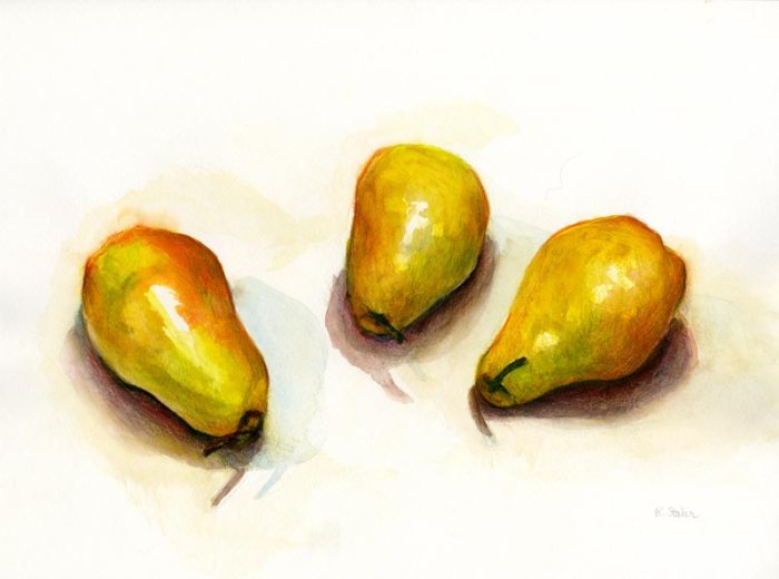 pear study - watercolor and inktense pencil - by artist rebecca stahr