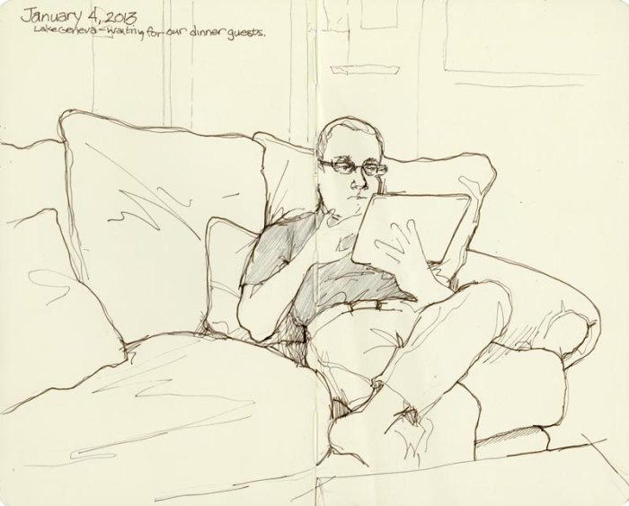 sketch of figure relaxing on couch
