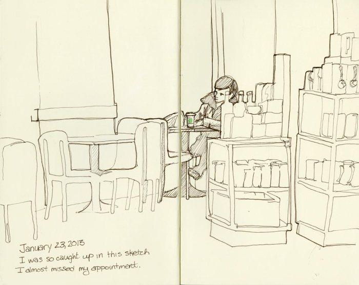 Sketching at Starbucks