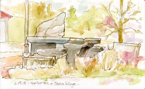 2013_watercolorink_StationVillageFountainWEB