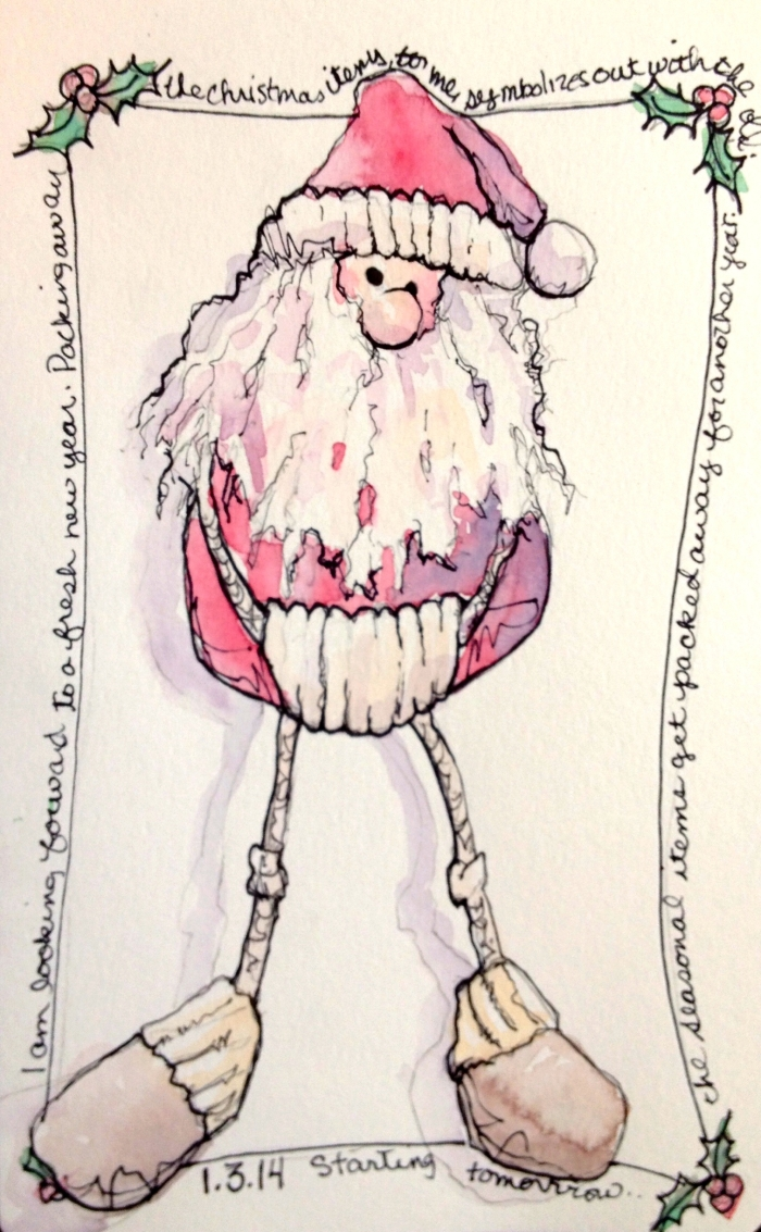 Santa Ornament Sketch, Watercolor and Ink in Moleskine - Rebecca Stahr © 2014