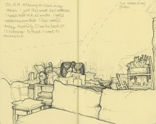 view if the desk in my art studio - sketchbook - © Rebecca Stahr