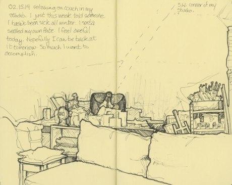 view if the desk in my art studio - sketchbook - © Rebecca Stahr