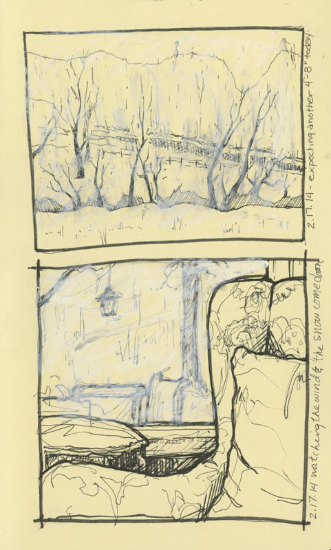 Sketches of winter storm out windows by Rebecca Stahr Artist