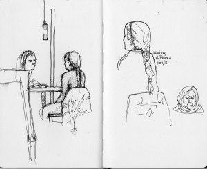 Waiting at Panera - Sketchbook - ink